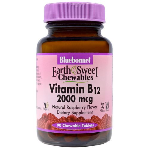 Bluebonnet Nutrition, EarthSweet Chewables, Vitamin B12, Natural Raspberry Flavor, 2,000 mcg, 90 Chewable Tablets فوائد