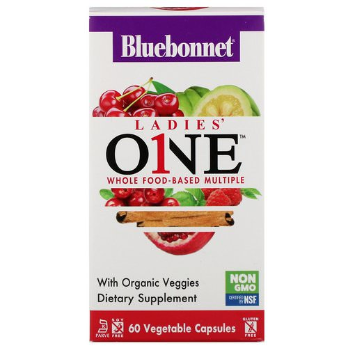 Bluebonnet Nutrition, Ladies' ONE, Whole Food-Based Multiple, 60 Vegetables Capsules فوائد