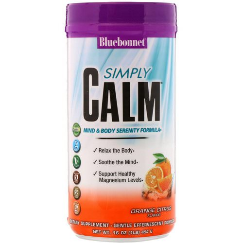 Bluebonnet Nutrition, Simply Calm Powder, Orange Citrus Flavor, 16 oz (454 g) فوائد