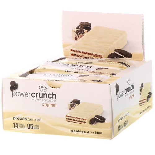 BNRG, Power Crunch Protein Energy Bar, Original, Cookies and Creme, 12 Bars, 1.4 oz (40 g) Each فوائد