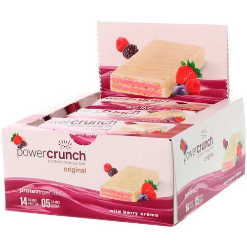BNRG, Power Crunch Protein Energy Bar, Wild Berry Creme, 12 Bars, 1.4 oz (40 g) Each فوائد