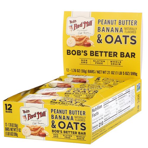 Bob's Red Mill, Bob's Better Bar, Peanut Butter Banana & Oats, 12 Bars, 1.76 oz (50 g) Each فوائد