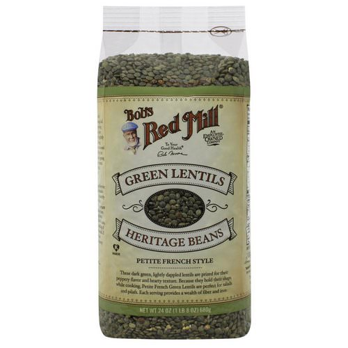 Bob's Red Mill, Green Lentils Heritage Beans, Petite French Style, 1.5 lbs (680 g) فوائد