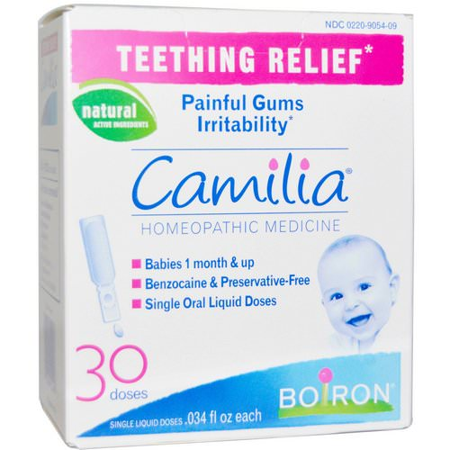 Boiron, Camilia, Teething Relief, 30 Single Liquid Doses, .034 fl oz Each فوائد