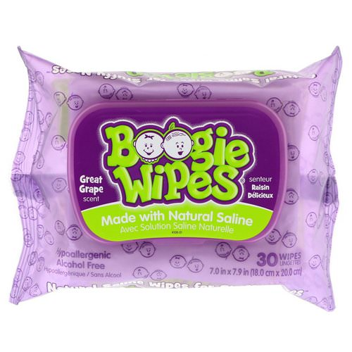 Boogie Wipes, Natural Saline Wipes for Stuffy Noses, Great Grape Scent, 30 Wipes فوائد
