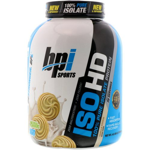 BPI Sports, ISO HD, 100% Pure Isolate Protein, Vanilla Cookie, 4.8 lbs (2170 g) فوائد