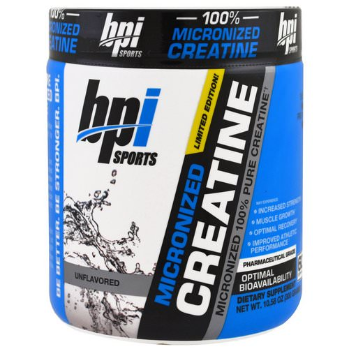 BPI Sports, Micronized Creatine, Limited Edition, Micronized 100% Pure Creatine, Unflavored, 10.58 oz (300 g) فوائد
