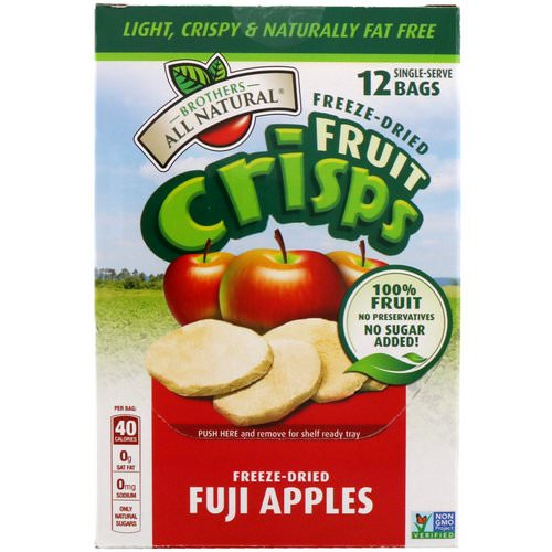 Brothers-All-Natural, Freeze-Dried - Fruit Crisps, Fuji Apples, 12 Single-Serve Bags, 4.23 oz (120 g) فوائد
