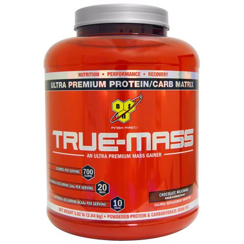 BSN, True-Mass, Ultra Premium Protein/Carb Matrix, Chocolate Milkshake, 5.82 lbs (2.64 kg) فوائد