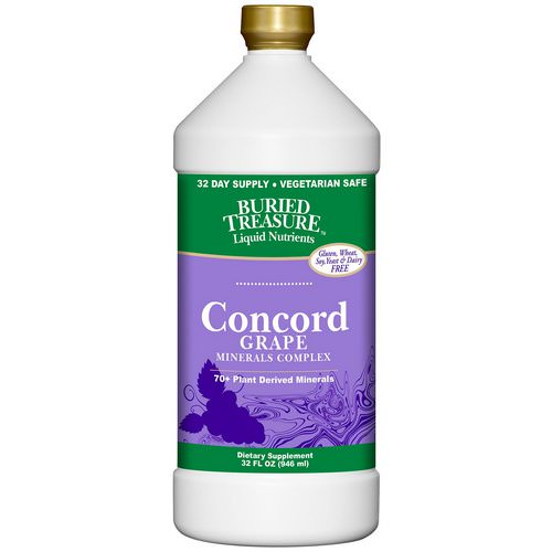 Buried Treasure, Liquid Nutrients, 70+ Plant Derived Minerals, Concord Grape, 32 fl oz (946 ml) فوائد