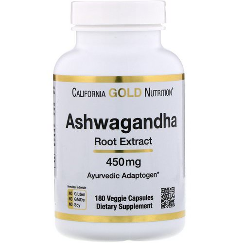 California Gold Nutrition, Ashwagandha, 450 mg, 180 Veggie Capsules فوائد
