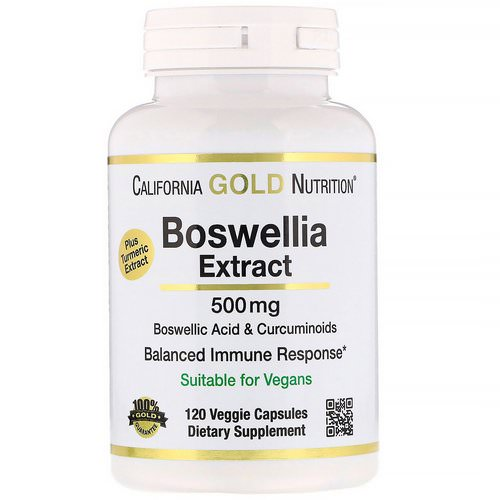California Gold Nutrition, Boswellia Extract, Plus Turmeric Extract, 500 mg, 120 Veggie Capsules فوائد