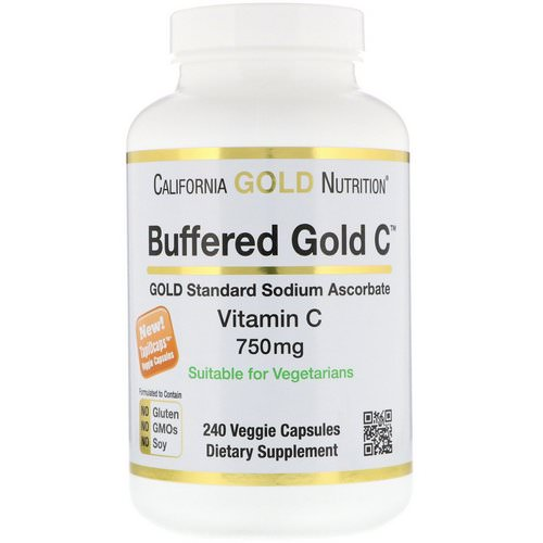 California Gold Nutrition, Buffered Vitamin C Capsules, 750 mg, 240 Veggie Capsules فوائد