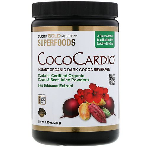 California Gold Nutrition, CocoCardio, Certified Organic Instant Dark Cocoa Beverage with Beet Juice & Hibiscus, 7.93 oz. (225 g) فوائد