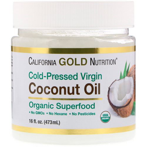 California Gold Nutrition, Cold-Pressed Organic Virgin Coconut Oil, 16 fl oz (473 ml) فوائد