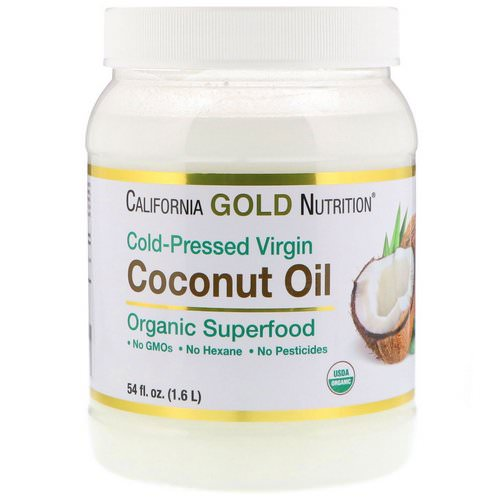 California Gold Nutrition, Cold-Pressed Organic Virgin Coconut Oil, 54 fl oz (1.6 L) فوائد