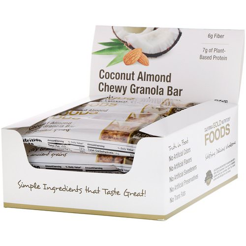 California Gold Nutrition, Foods, Coconut Almond Chewy Granola Bars, 12 Bars, 1.4 oz (40 g) Each فوائد