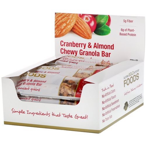 California Gold Nutrition, Foods, Cranberry & Almond Chewy Granola Bars, 12 Bars, 1.4 oz (40 g) Each فوائد