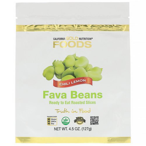 California Gold Nutrition, Foods, Fava Beans, Ready to Eat Roasted Slices, Chili Lemon, 4.5 oz (127 g) فوائد