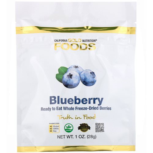 California Gold Nutrition, Freeze-Dried Blueberry, Ready to Eat Whole Freeze-Dried Berries, 1 oz (28 g) فوائد