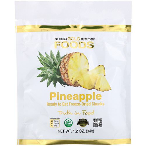 California Gold Nutrition, Freeze Dried Pineapple, Ready to Eat Whole Freeze-Dried Chunks, 1 oz (34 g) فوائد