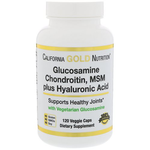 California Gold Nutrition, Glucosamine, Chondroitin, MSM Plus Hyaluronic Acid, 120 Veggie Caps فوائد