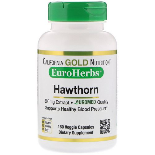 California Gold Nutrition, Hawthorn Extract, EuroHerbs, European Quality, 300 mg, 180 Veggie Capsules فوائد