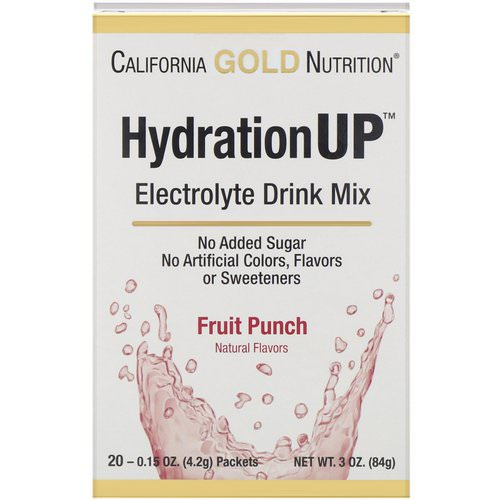 California Gold Nutrition, HydrationUP, Electrolyte Drink Mix, Fruit Punch, 20 Packets, 0.15 oz (4.2 g) Each فوائد