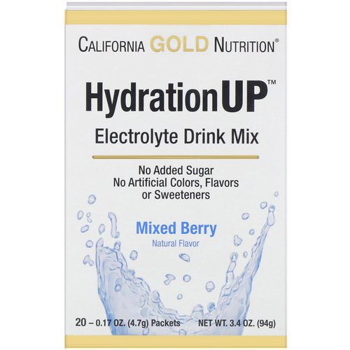 California Gold Nutrition, HydrationUP, Electrolyte Drink Mix, Mixed Berry, 20 Packets, 0.17 oz (4.7 g) Each فوائد