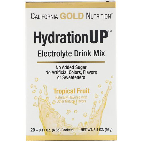 California Gold Nutrition, HydrationUP, Electrolyte Drink Mix, Tropical Fruit, 20 Packets, 0.17 oz (4.8 g) Each فوائد