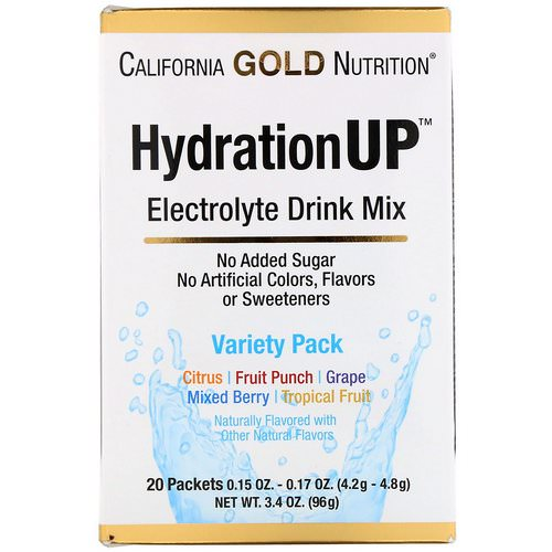 California Gold Nutrition, HydrationUP, Electrolyte Drink Mix, Variety Pack, 20 Packets, 0.15 oz (4.2 g) Each فوائد