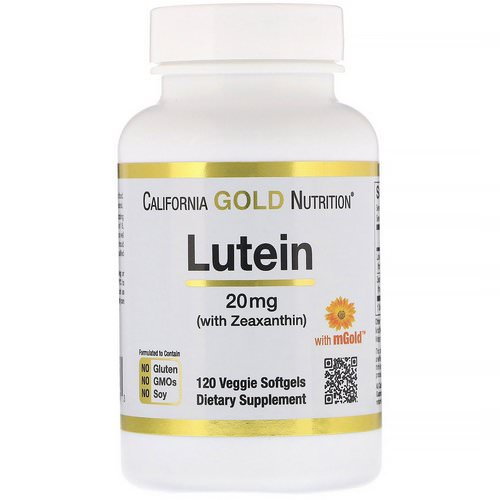 California Gold Nutrition, Lutein with Zeaxanthin, 20 mg, 120 Veggie Softgels فوائد