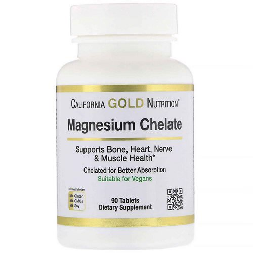 California Gold Nutrition, Magnesium Chelate, 210 mg, 90 Tablets فوائد