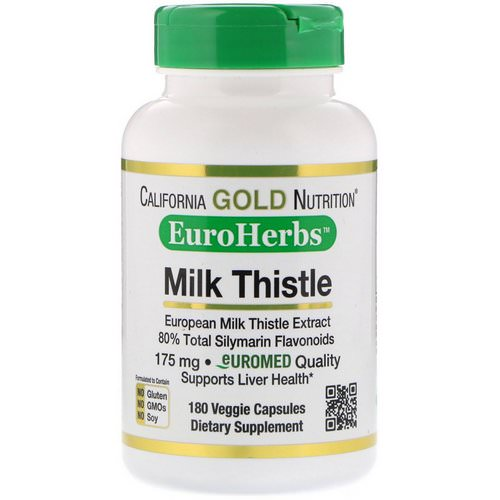 California Gold Nutrition, Milk Thistle Extract, 80% Silymarin, EuroHerbs, Clinical Strength, 180 Veggie Capsules فوائد