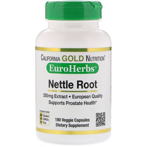 California Gold Nutrition, Nettle Root Extract, EuroHerbs, 250 mg, 180 Veggie Capsules فوائد