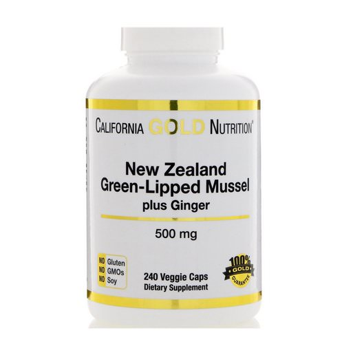 California Gold Nutrition, New Zealand, Green-Lipped Mussel Plus Ginger, Joint Health Formula, 500 mg, 240 Veggie Caps فوائد