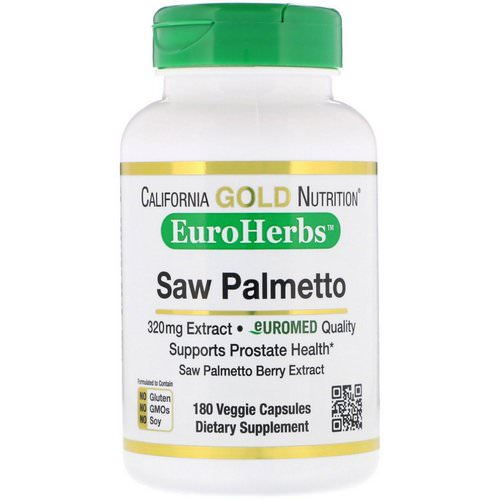 California Gold Nutrition, Saw Palmetto Extract, EuroHerbs, European Quality, 320 mg, 180 Veggie Capsules فوائد