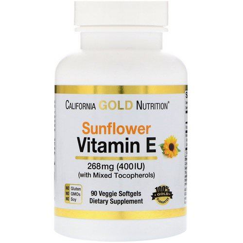 California Gold Nutrition, Sunflower Vitamin E, with Mixed Tocopherols, 400 IU, 90 Veggie Softgels فوائد