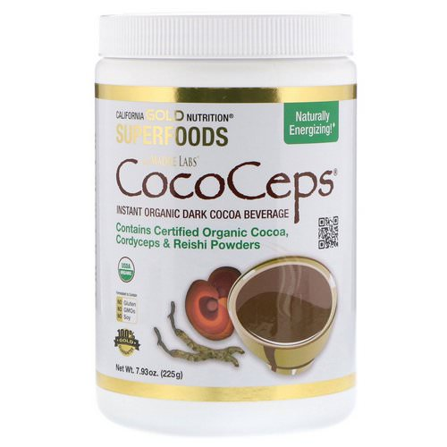 California Gold Nutrition, SUPERFOODS - CocoCeps, Organic Cocoa, Cordyceps & Reishi, 7.93 oz (225 g) فوائد