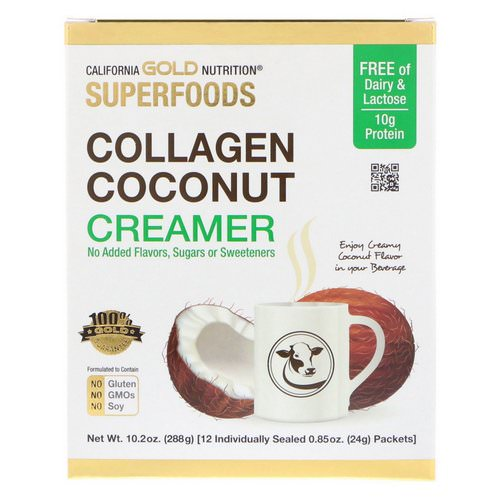 California Gold Nutrition, Superfoods, Collagen Coconut Creamer, Unsweetened, 12 Packets 0.85 oz (24 g) Each فوائد