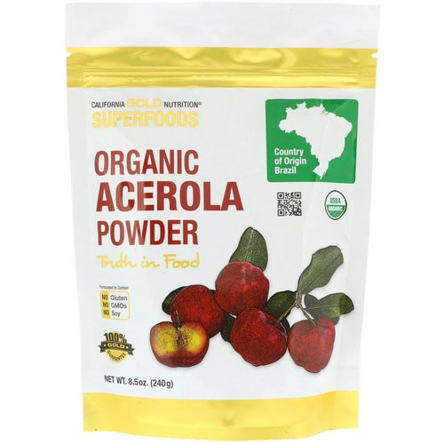 California Gold Nutrition, Superfoods, Organic Acerola Powder, 8.5 oz (240 g) فوائد