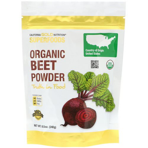 California Gold Nutrition, Superfoods, Organic Beet Powder, 8.5 oz (240 g) فوائد