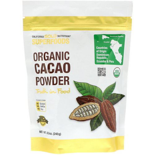 California Gold Nutrition, Superfoods, Organic Cacao Powder, 8.5 oz (240 g) فوائد