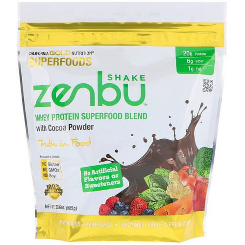 California Gold Nutrition, Zenbu Shake, Whey Protein Superfood Blend with Cocoa Powder, 1.3 lbs (585 g) فوائد