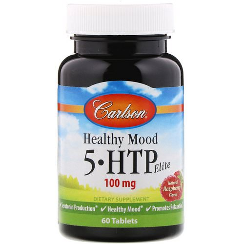 Carlson Labs, Healthy Mood, 5-HTP Elite, Natural Raspberry Flavor, 100 mg, 60 Tablets فوائد