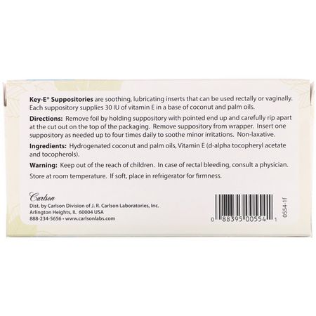 Carlson Labs, Key•E Suppositories, 24 Soothing Inserts:حمام, فيتامين E