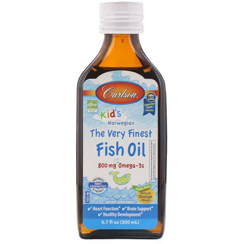 Carlson Labs, Kid's,Norwegian, The Very Finest Fish Oil, Natural Orange Flavor, 6.7 fl oz (200 ml) فوائد