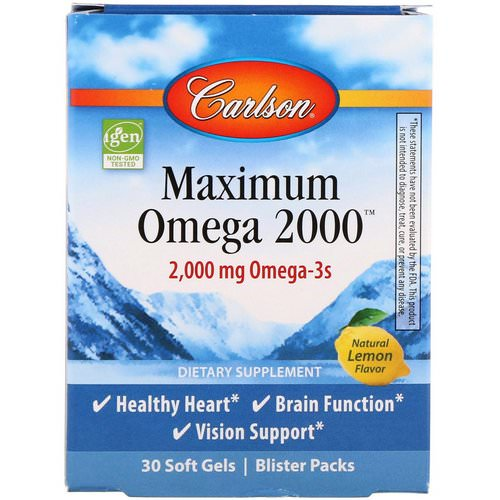 Carlson Labs, Maximum Omega 2000, Natural Lemon Flavor, 2,000 mg, 30 Softgels فوائد