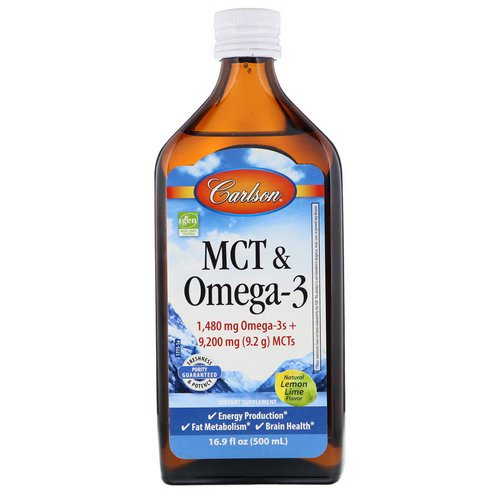 Carlson Labs, MCT & Omega-3, Natural Lemon Lime, 16.9 fl oz (500 ml) فوائد
