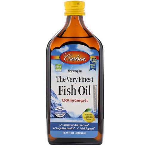 Carlson Labs, Norwegian, The Very Finest Fish Oil, Natural Lemon Flavor, 1,600 mg, 16.9 fl oz (500 ml) فوائد